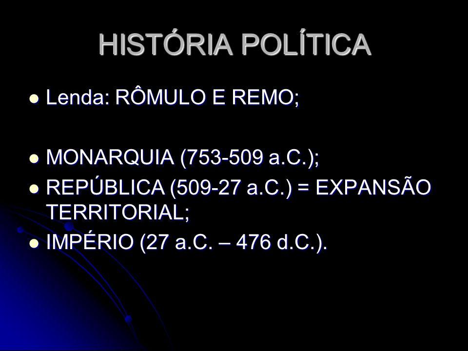 HISTÓRIA POLÍTICA Lenda: RÔMULO E REMO; Lenda: RÔMULO E REMO; MONARQUIA (753-509 a.C.); MONARQUIA (753-509 a.C.); REPÚBLICA (509-27 a.C.) = EXPANSÃO T