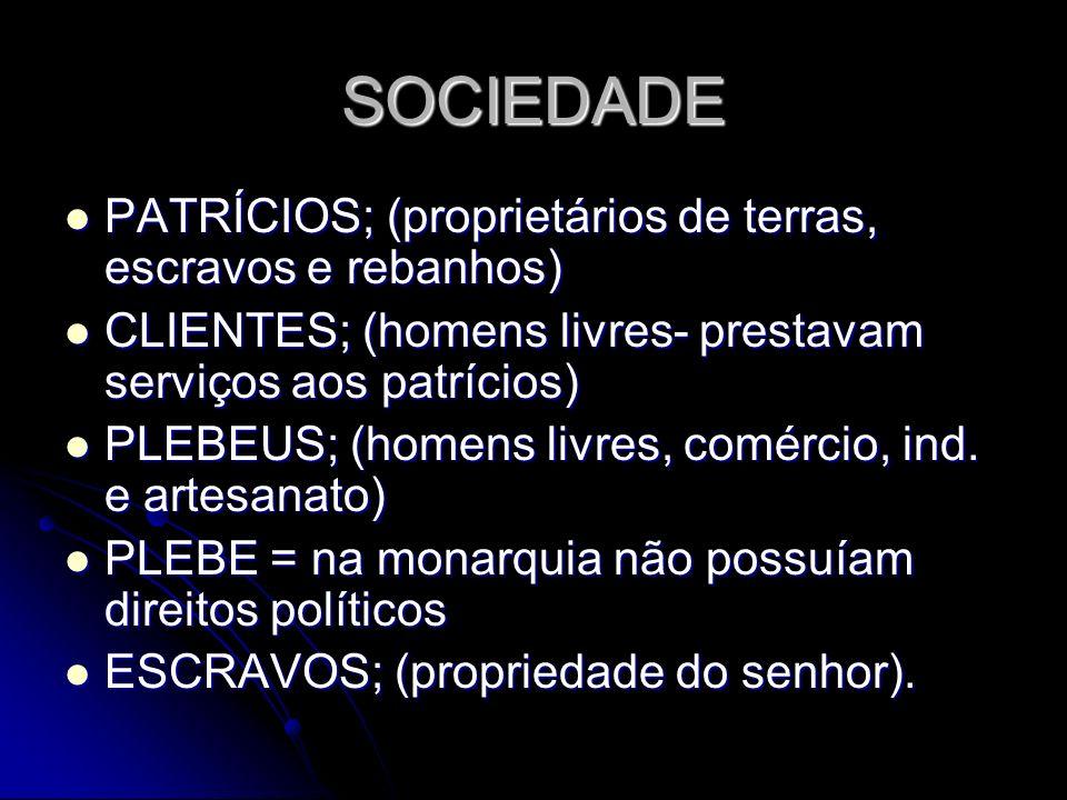 A REPÚBLICA DOMÍNIO DOS PATRÍCIOS; DOMÍNIO DOS PATRÍCIOS; DOIS CÔNSULES (auxiliados pelo Senado- 300 cidadãos); DOIS CÔNSULES (auxiliados pelo Senado- 300 cidadãos); MAGISTRADOS; MAGISTRADOS; ASSEMBLÉIA DOS CIDADÃOS (cidadãos patrícios) ASSEMBLÉIA DOS CIDADÃOS (cidadãos patrícios) CONFLITOS ENTRE PATRÍCIOS E PLEBEUS CONFLITOS ENTRE PATRÍCIOS E PLEBEUS