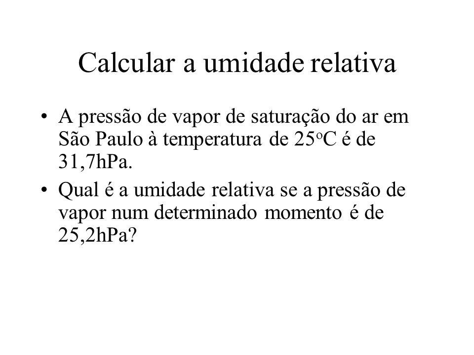 Calcular a umidade relativa A pressão de vapor de saturação do ar em São Paulo à temperatura de 25 o C é de 31,7hPa. Qual é a umidade relativa se a pr