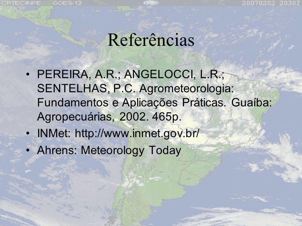 Referências PEREIRA, A.R.; ANGELOCCI, L.R.; SENTELHAS, P.C. Agrometeorologia: Fundamentos e Aplicações Práticas. Guaíba: Agropecuárias, 2002. 465p. IN