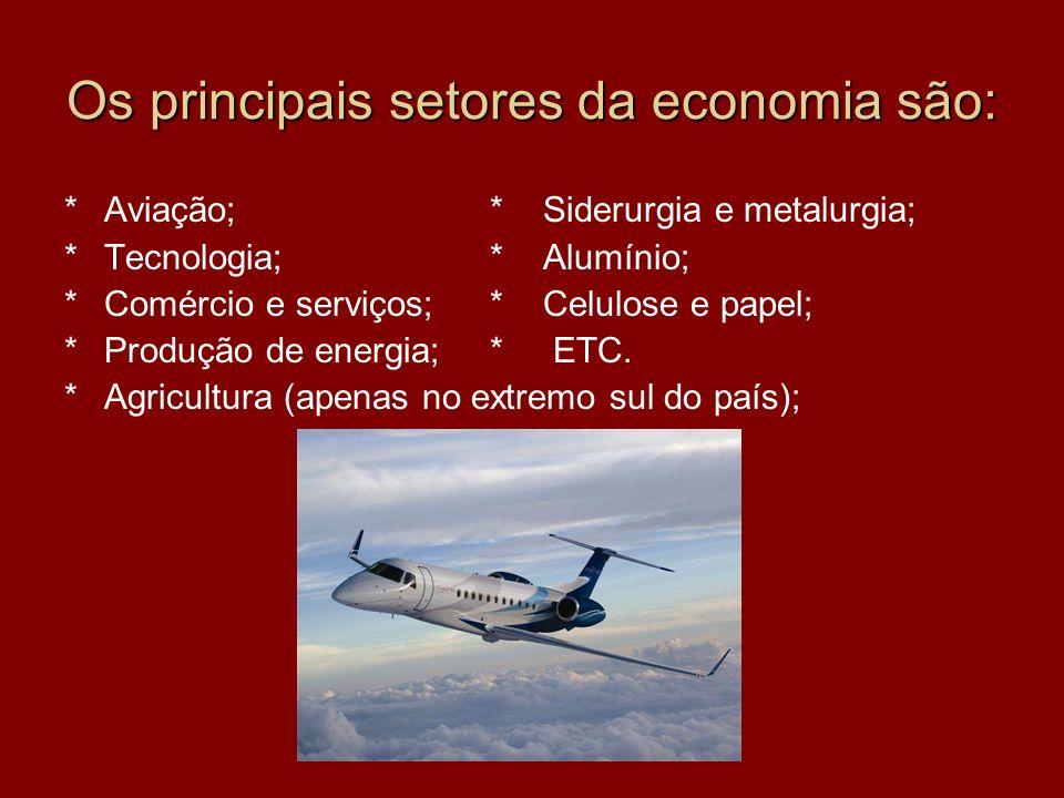 Os principais setores da economia são: *Aviação;* Siderurgia e metalurgia; *Tecnologia;* Alumínio; *Comércio e serviços;* Celulose e papel; *Produção