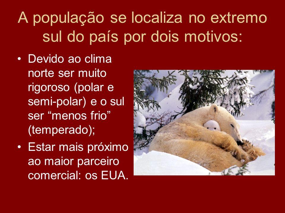 A população se localiza no extremo sul do país por dois motivos: Devido ao clima norte ser muito rigoroso (polar e semi-polar) e o sul ser menos frio