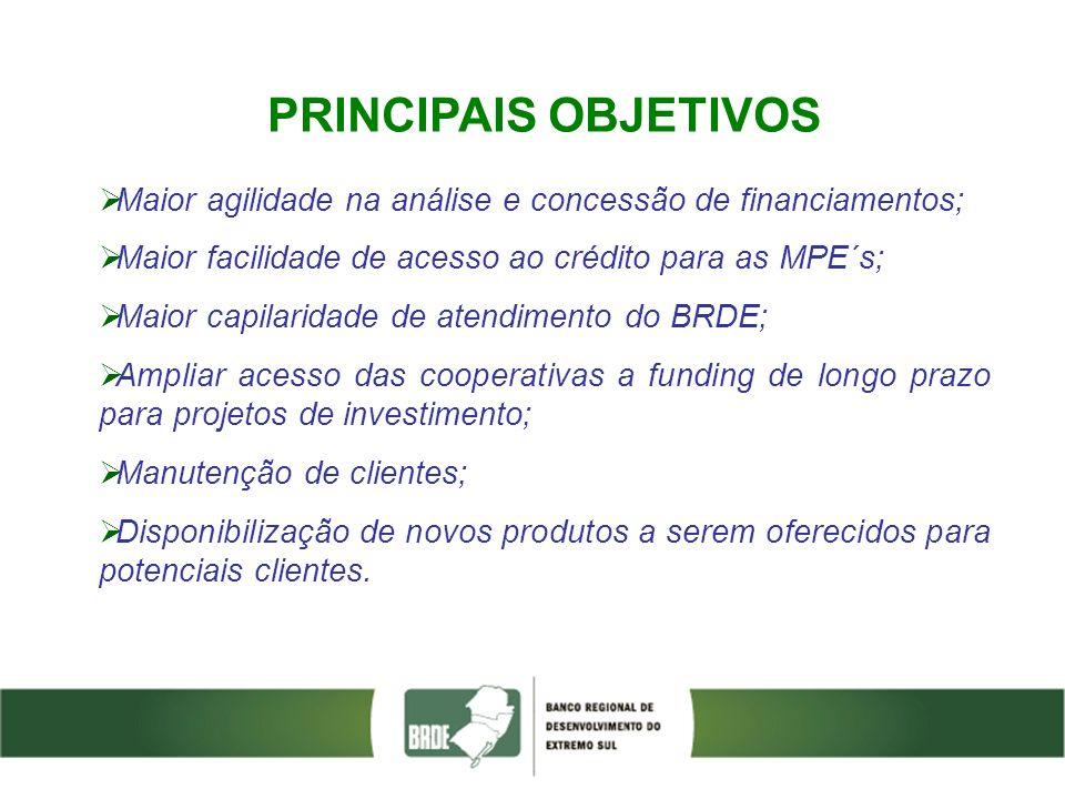 PRINCIPAIS OBJETIVOS Maior agilidade na análise e concessão de financiamentos; Maior facilidade de acesso ao crédito para as MPE´s; Maior capilaridade