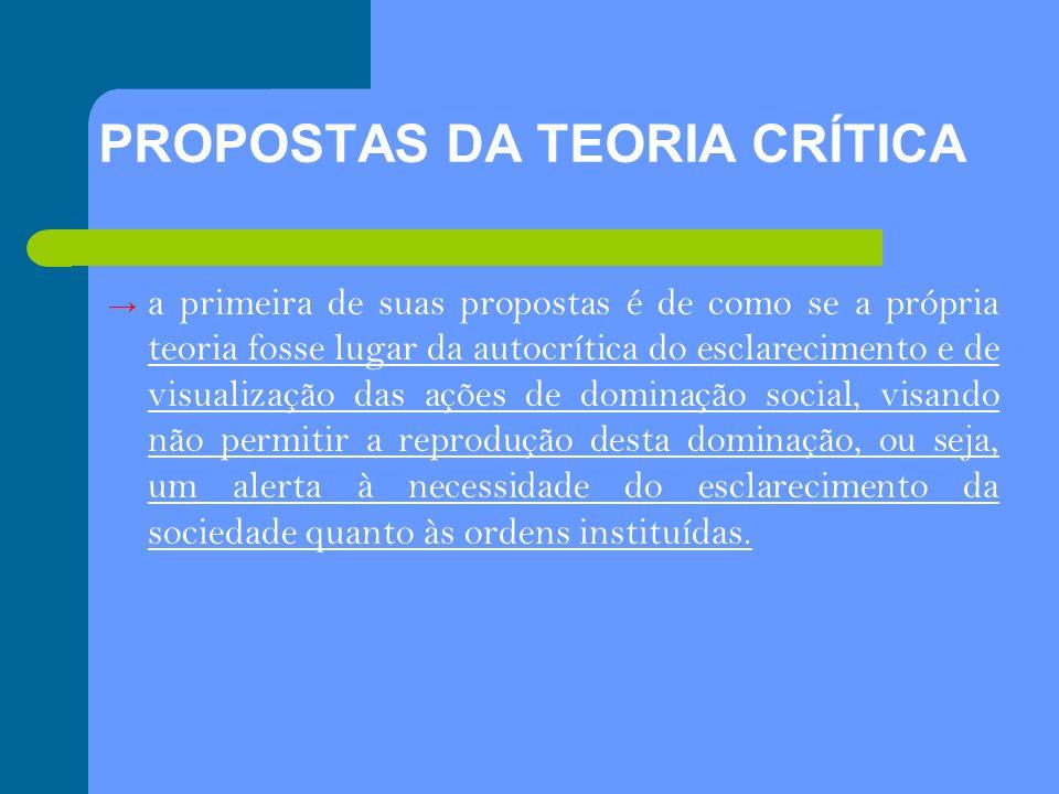 PROPOSTAS DA TEORIA CRÍTICA a primeira de suas propostas é de como se a própria teoria fosse lugar da autocrítica do esclarecimento e de visualização