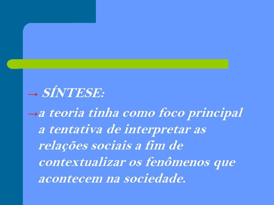 SÍNTESE: a teoria tinha como foco principal a tentativa de interpretar as relações sociais a fim de contextualizar os fenômenos que acontecem na socie