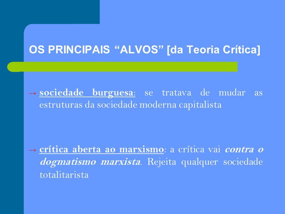 OS PRINCIPAIS ALVOS [da Teoria Crítica] sociedade burguesa : se tratava de mudar as estruturas da sociedade moderna capitalista crítica aberta ao marx