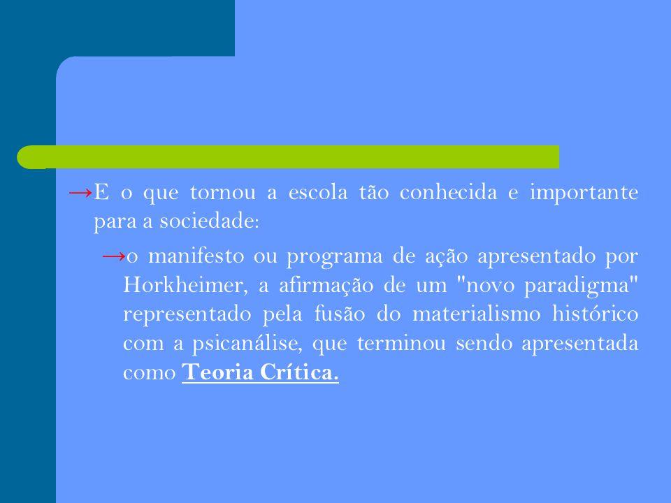 E o que tornou a escola tão conhecida e importante para a sociedade: o manifesto ou programa de ação apresentado por Horkheimer, a afirmação de um