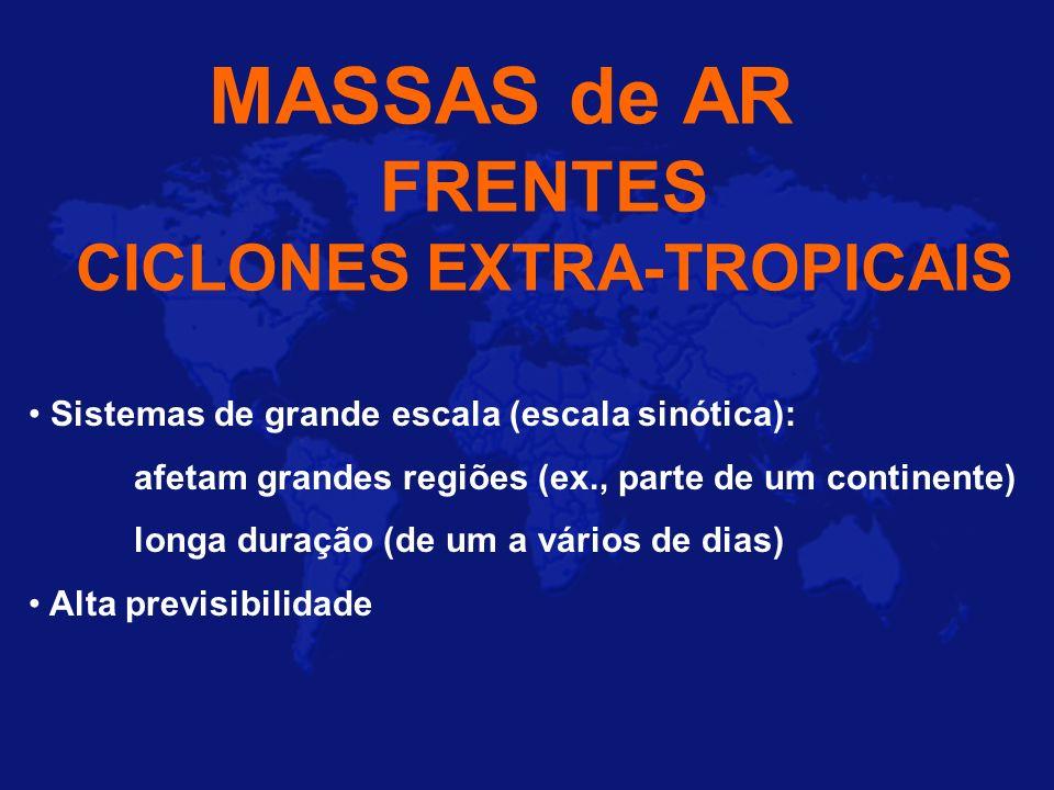 MASSAS de AR FRENTES CICLONES EXTRA-TROPICAIS Sistemas de grande escala (escala sinótica): afetam grandes regiões (ex., parte de um continente) longa