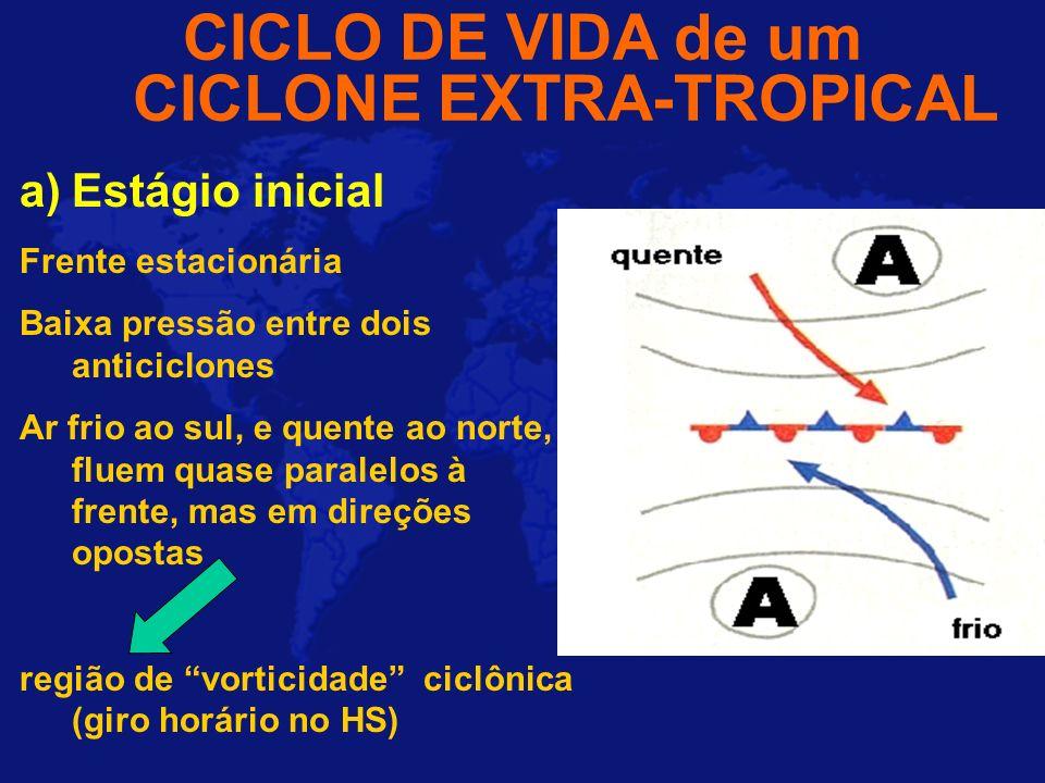 CICLO DE VIDA de um CICLONE EXTRA-TROPICAL a)Estágio inicial Frente estacionária Baixa pressão entre dois anticiclones Ar frio ao sul, e quente ao nor