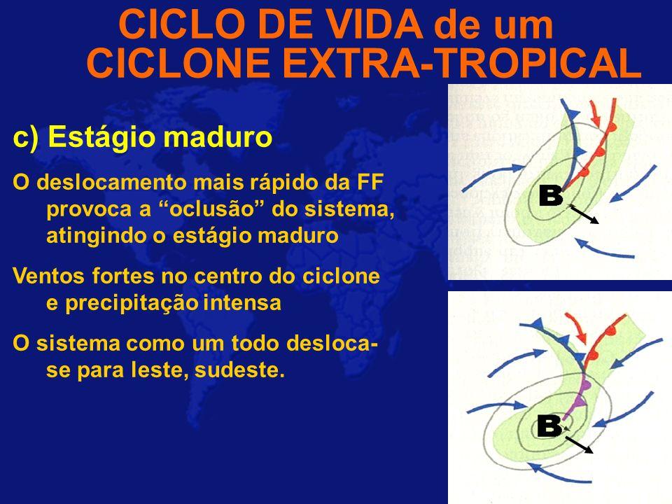 CICLO DE VIDA de um CICLONE EXTRA-TROPICAL c) Estágio maduro O deslocamento mais rápido da FF provoca a oclusão do sistema, atingindo o estágio maduro