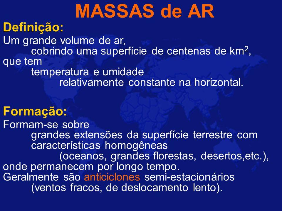 MASSAS de AR Definição: Um grande volume de ar, cobrindo uma superfície de centenas de km 2, que tem temperatura e umidade relativamente constante na