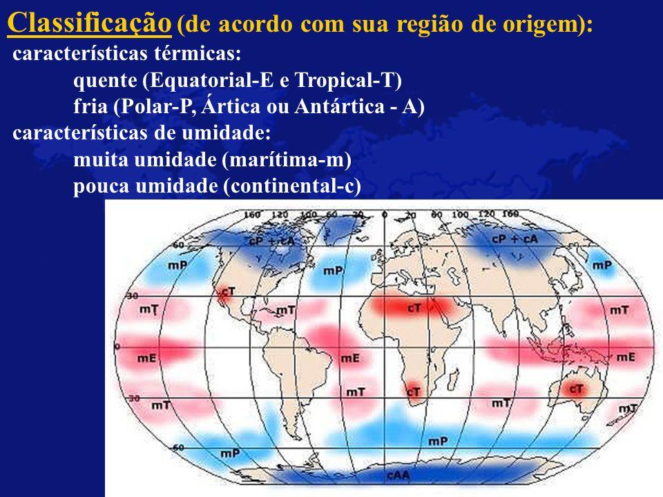 Classificação (de acordo com sua região de origem): características térmicas: quente (Equatorial-E e Tropical-T) fria (Polar-P, Ártica ou Antártica -