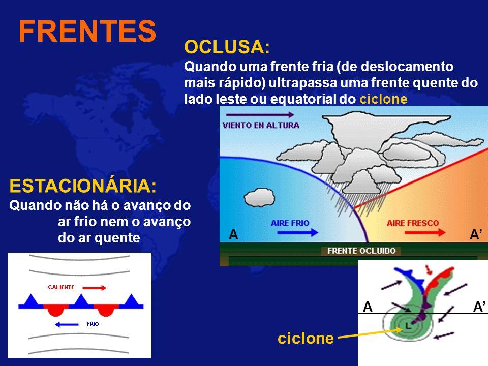 FRENTES ESTACIONÁRIA: Quando não há o avanço do ar frio nem o avanço do ar quente OCLUSA: Quando uma frente fria (de deslocamento mais rápido) ultrapa