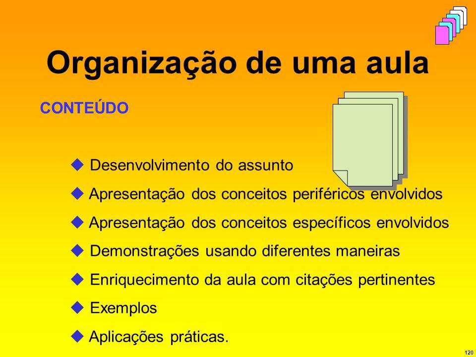120 Organização de uma aula CONTEÚDO Desenvolvimento do assunto Apresentação dos conceitos periféricos envolvidos Apresentação dos conceitos específic