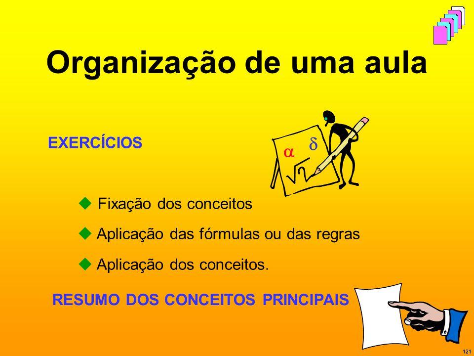 121 Organização de uma aula EXERCÍCIOS Fixação dos conceitos Aplicação das fórmulas ou das regras Aplicação dos conceitos. RESUMO DOS CONCEITOS PRINCI