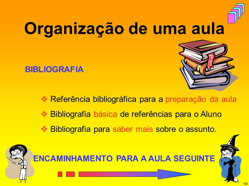 122 Organização de uma aula BIBLIOGRAFIA Referência bibliográfica para a preparação da aula Bibliografia básica de referências para o Aluno Bibliograf