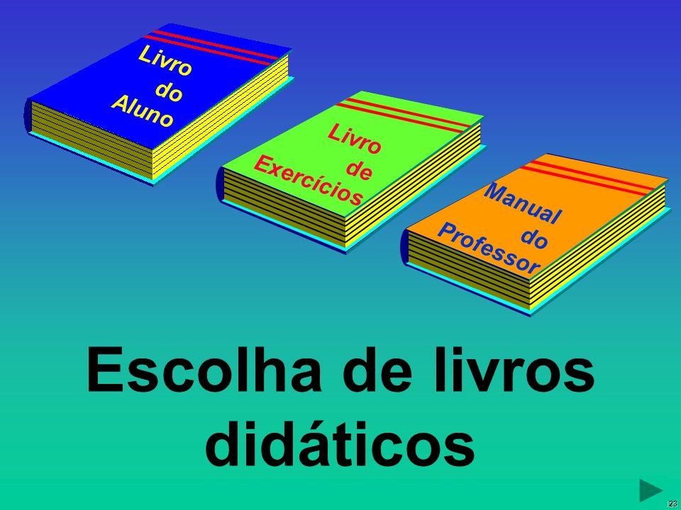 123 Escolha de livros didáticos Manual do Professor Livro do Aluno Livro de Exercícios