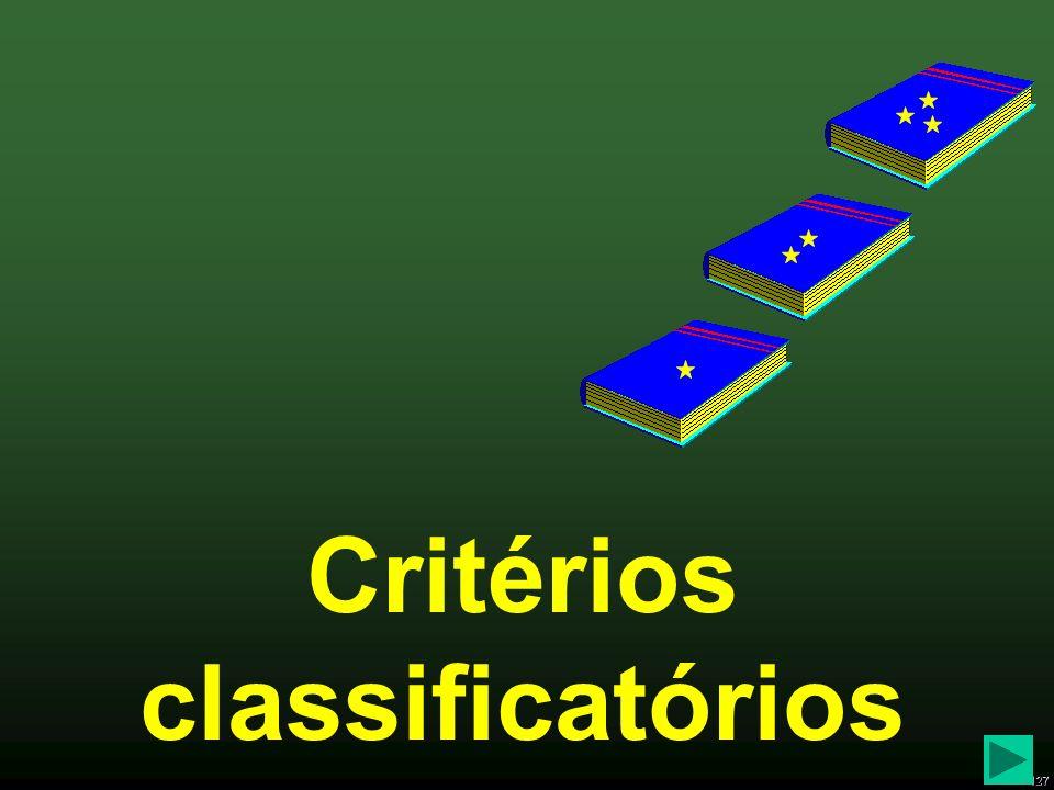 127 Critérios classificatórios