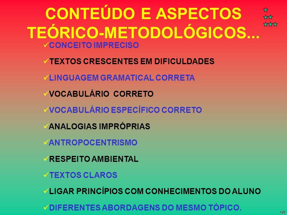 128 CONTEÚDO E ASPECTOS TEÓRICO-METODOLÓGICOS... CONCEITO IMPRECISO TEXTOS CRESCENTES EM DIFICULDADES LINGUAGEM GRAMATICAL CORRETA VOCABULÁRIO CORRETO