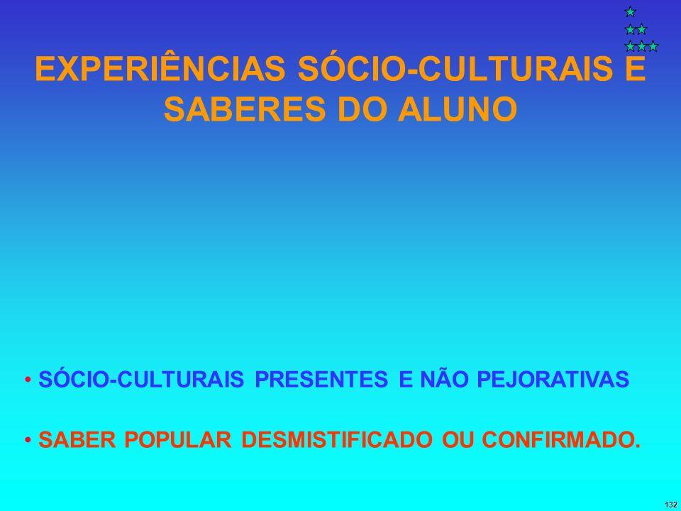 132 EXPERIÊNCIAS SÓCIO-CULTURAIS E SABERES DO ALUNO SÓCIO-CULTURAIS PRESENTES E NÃO PEJORATIVAS SABER POPULAR DESMISTIFICADO OU CONFIRMADO.
