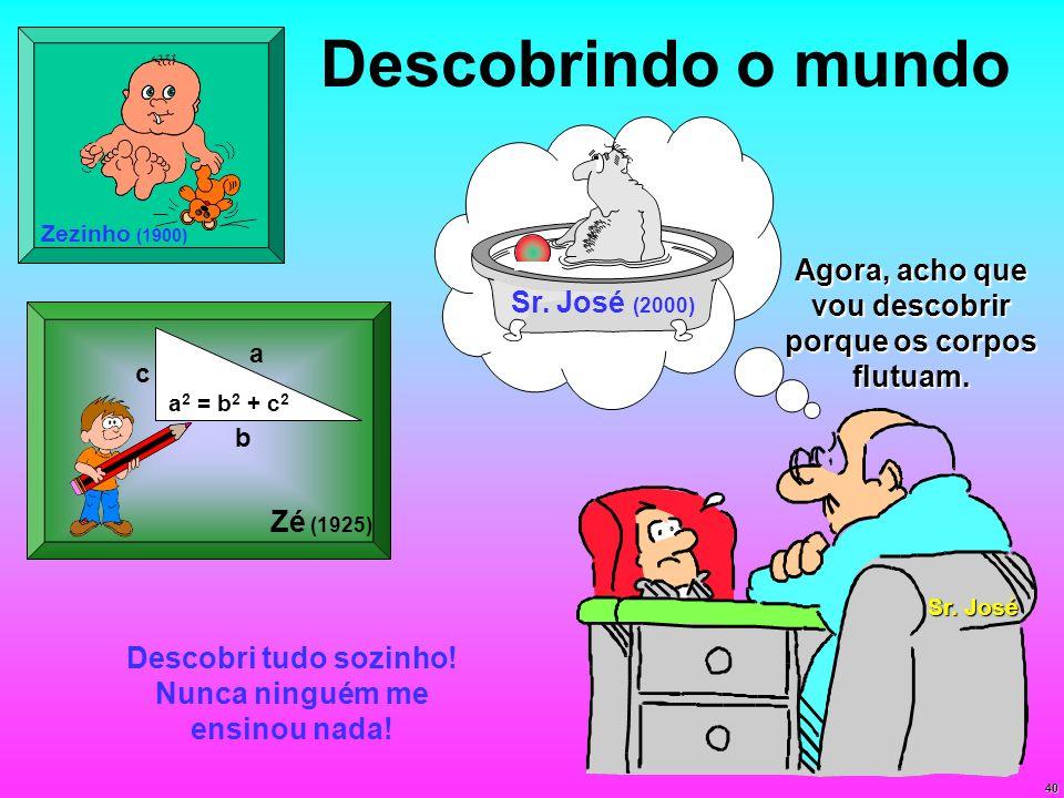 40 Descobrindo o mundo a b c a 2 = b 2 + c 2 Zé (1925) Zezinho (1900) Descobri tudo sozinho! Nunca ninguém me ensinou nada! Sr. José (2000) Sr. José A