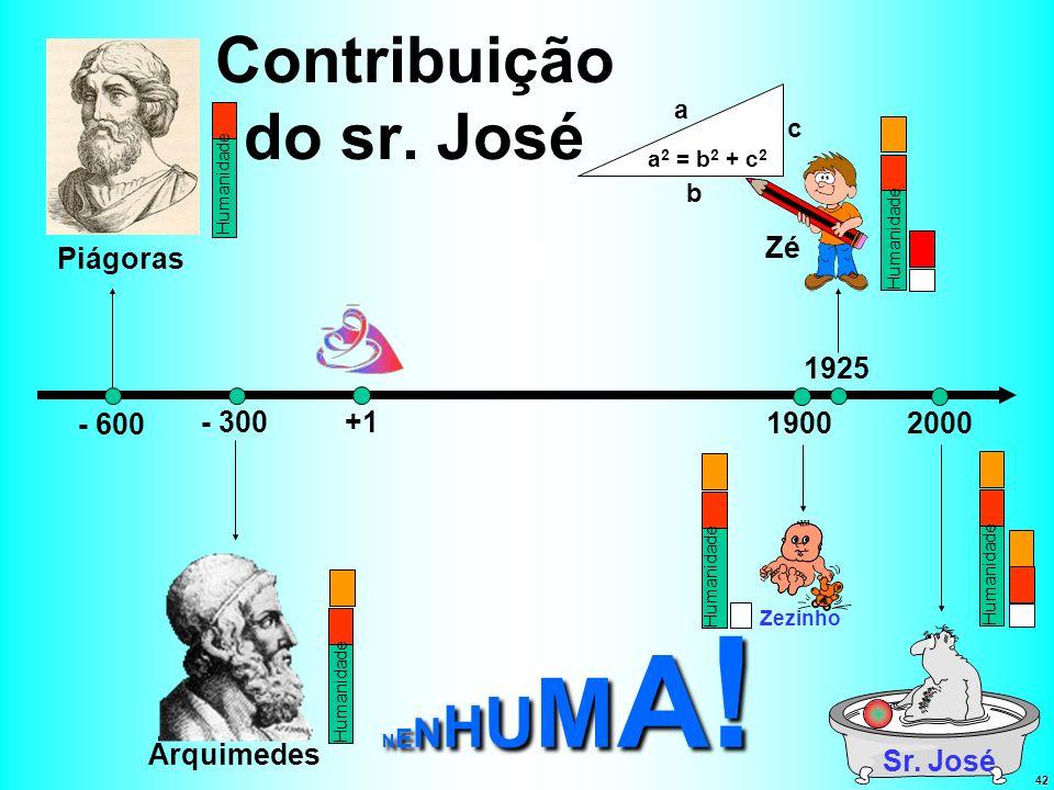42 Contribuição do sr. José - 600 Piágoras +1- 300 Arquimedes 20001900 1925 Sr. José Zezinho a b c a 2 = b 2 + c 2 Zé Humanidade NENHUMA!NENHUMA!NENHU