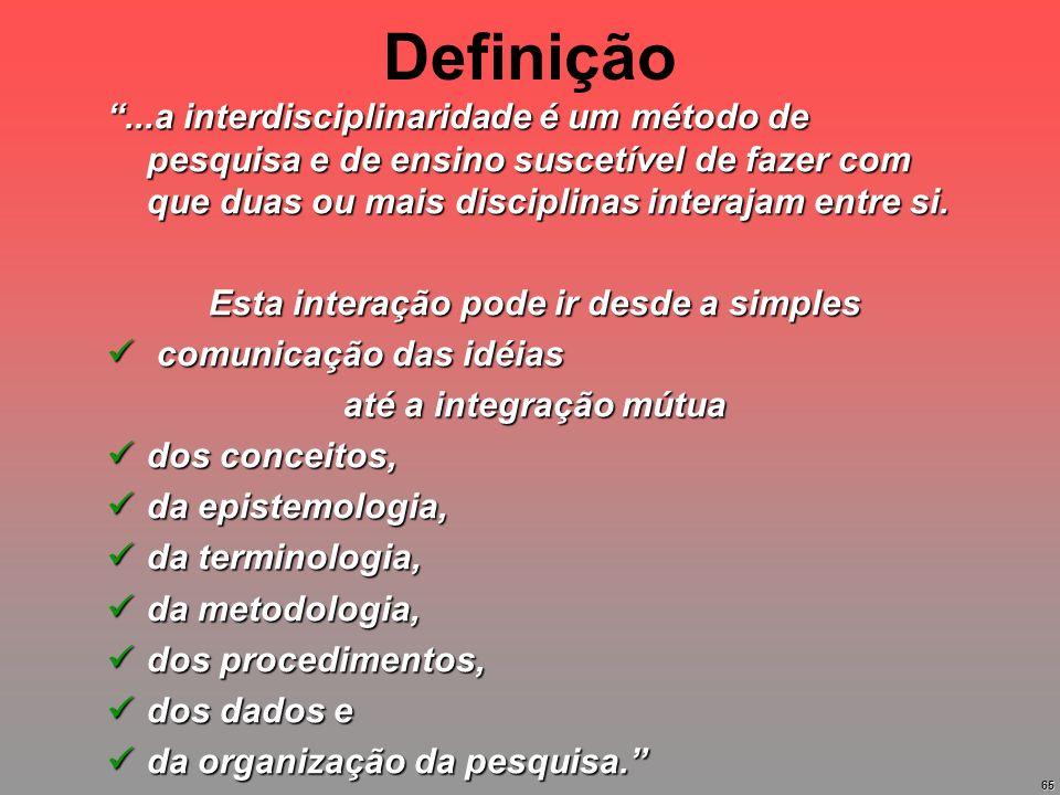 65 Definição...a interdisciplinaridade é um método de pesquisa e de ensino suscetível de fazer com que duas ou mais disciplinas interajam entre si. Es
