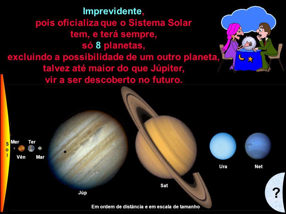 86 Mer VênMar Ter Júp Sat UraNet Plu SolSol Em ordem de distância e em escala de tamanho Imprevidente, pois oficializa que o Sistema Solar tem, e terá