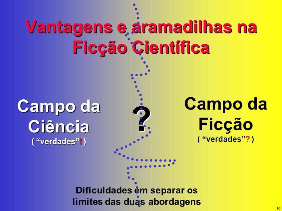 93 Vantagens e aramadilhas na Ficção Científica Campo da Ciência ( verdades! ) Campo da Ficção ( verdades? ) Dificuldades em separar os limites das du
