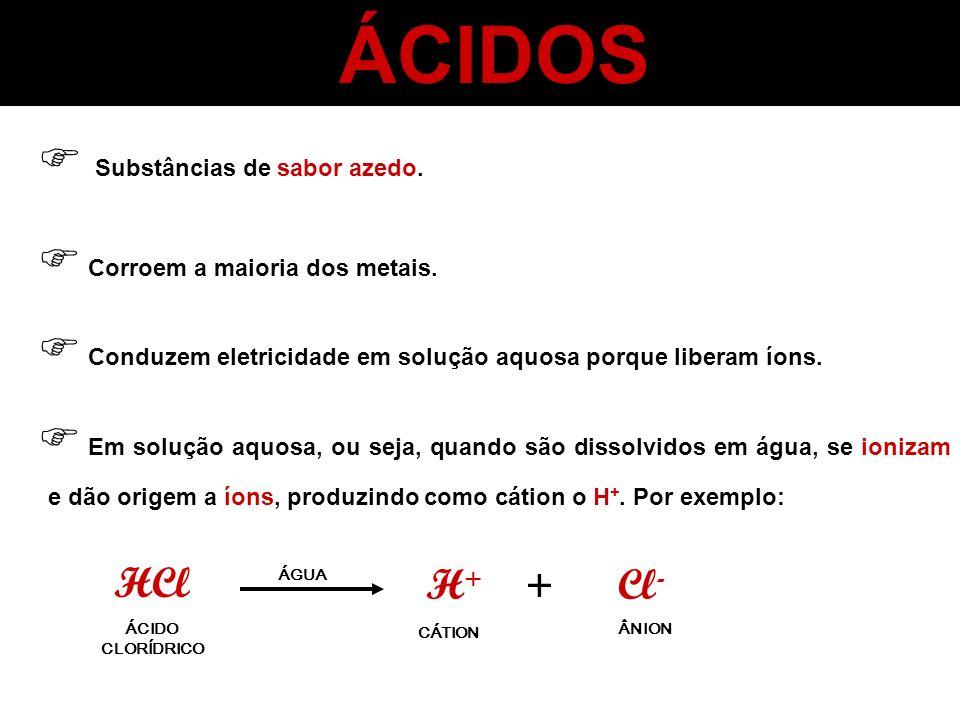 ÁCIDOS Substâncias de sabor azedo. Corroem a maioria dos metais. Conduzem eletricidade em solução aquosa porque liberam íons. Em solução aquosa, ou se