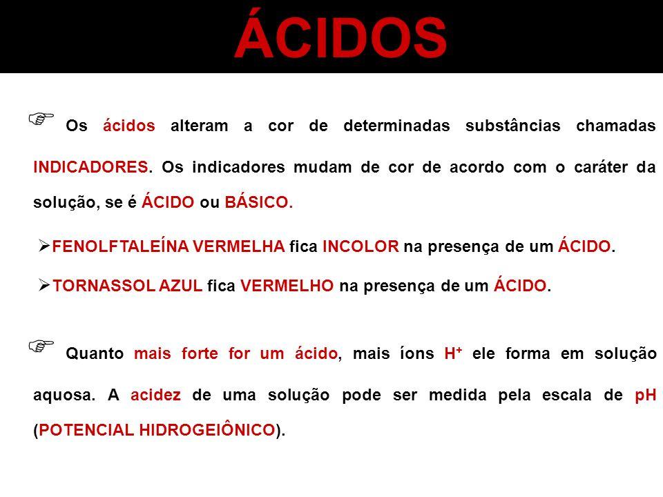 ÁCIDOS Os ácidos alteram a cor de determinadas substâncias chamadas INDICADORES. Os indicadores mudam de cor de acordo com o caráter da solução, se é