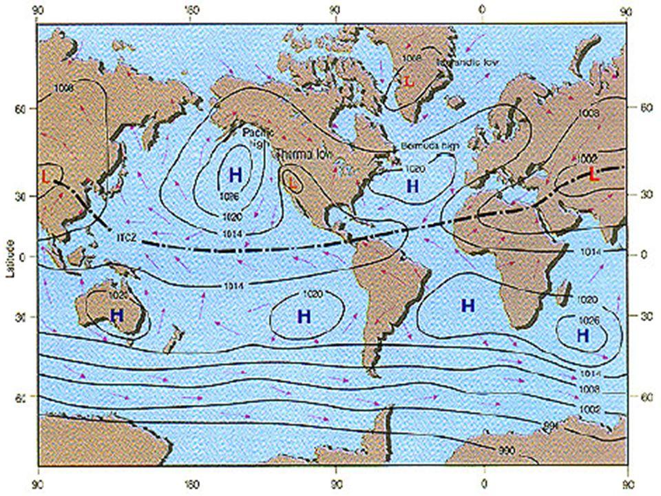 Padrões de superfície Precipitação média anual e correntes oceânicas de superfície