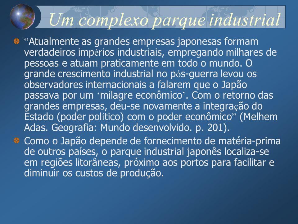 Um complexo parque industrial Atualmente as grandes empresas japonesas formam verdadeiros imp é rios industriais, empregando milhares de pessoas e atu