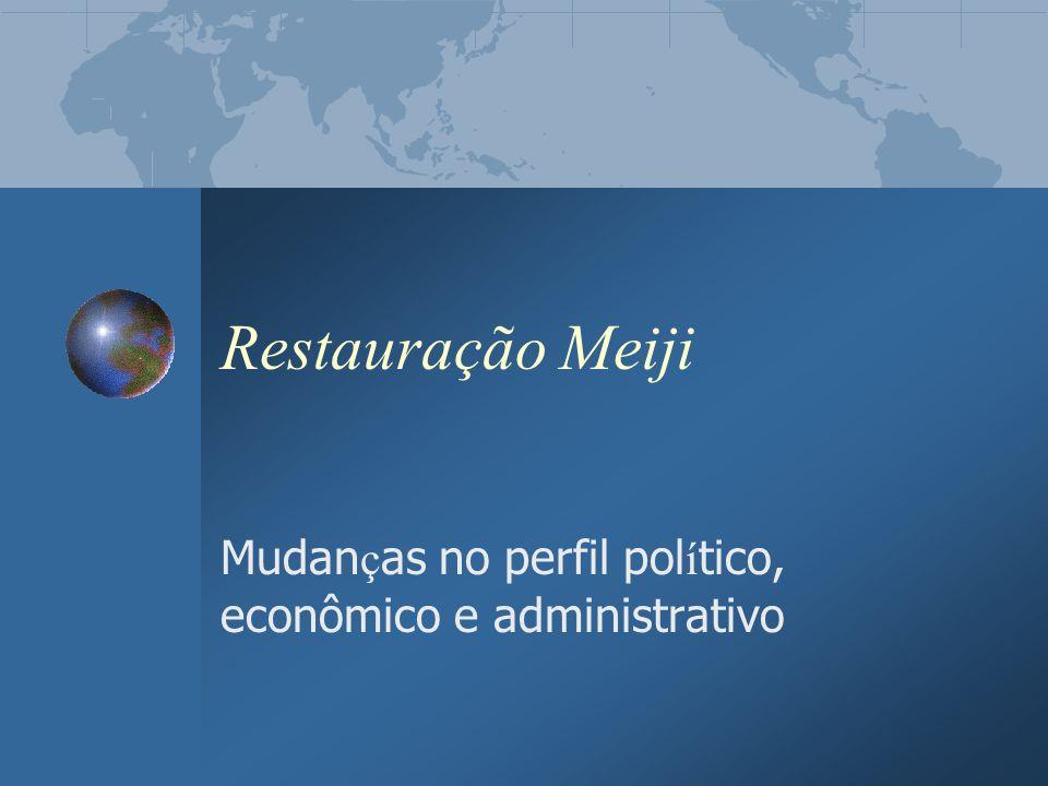 Restauração Meiji Mudan ç as no perfil pol í tico, econômico e administrativo