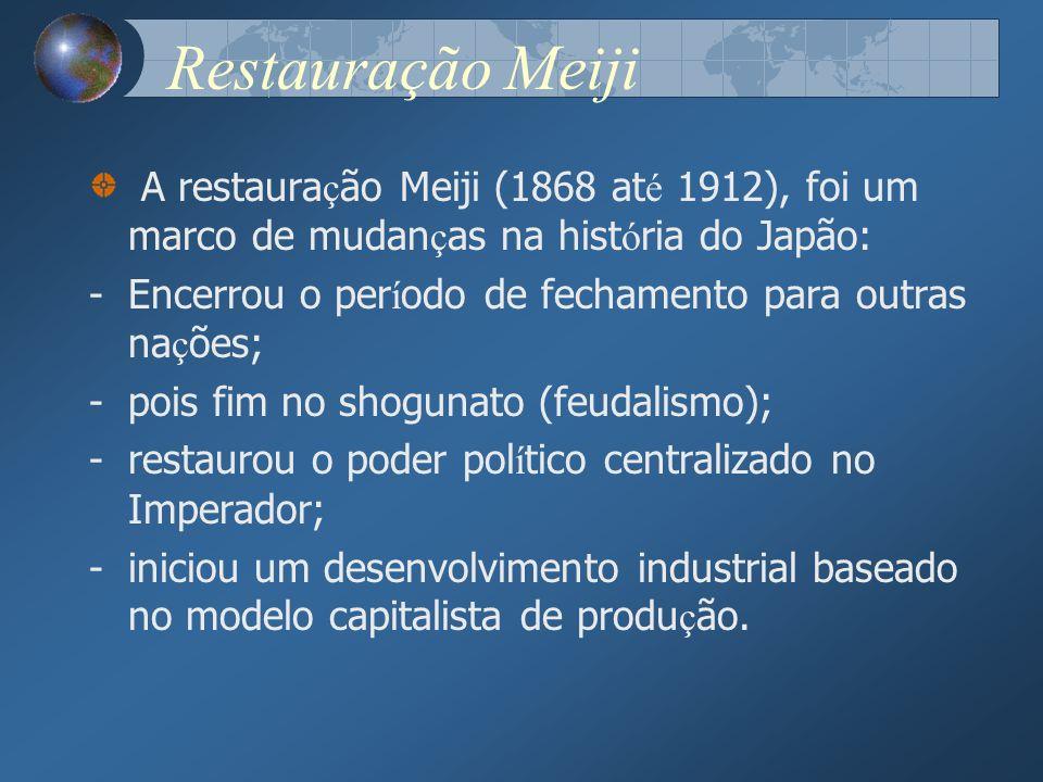 Restauração Meiji A restaura ç ão Meiji (1868 at é 1912), foi um marco de mudan ç as na hist ó ria do Japão: -Encerrou o per í odo de fechamento para