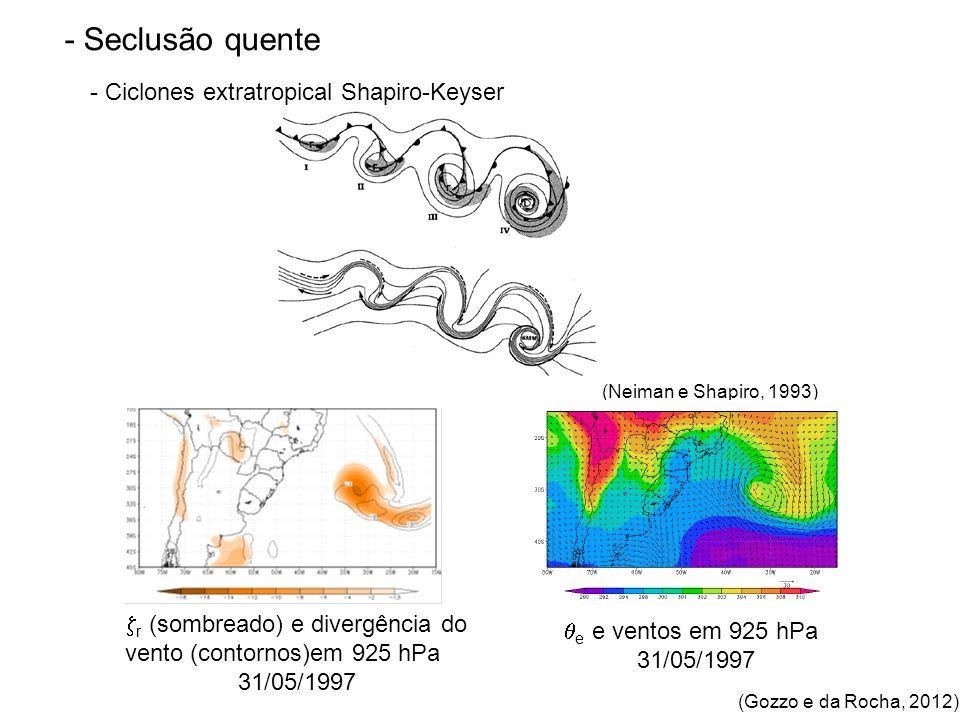 - Seclusão quente - Ciclones extratropical Shapiro-Keyser (Neiman e Shapiro, 1993) e e ventos em 925 hPa 31/05/1997 r (sombreado) e divergência do vento (contornos)em 925 hPa 31/05/1997 (Gozzo e da Rocha, 2012)