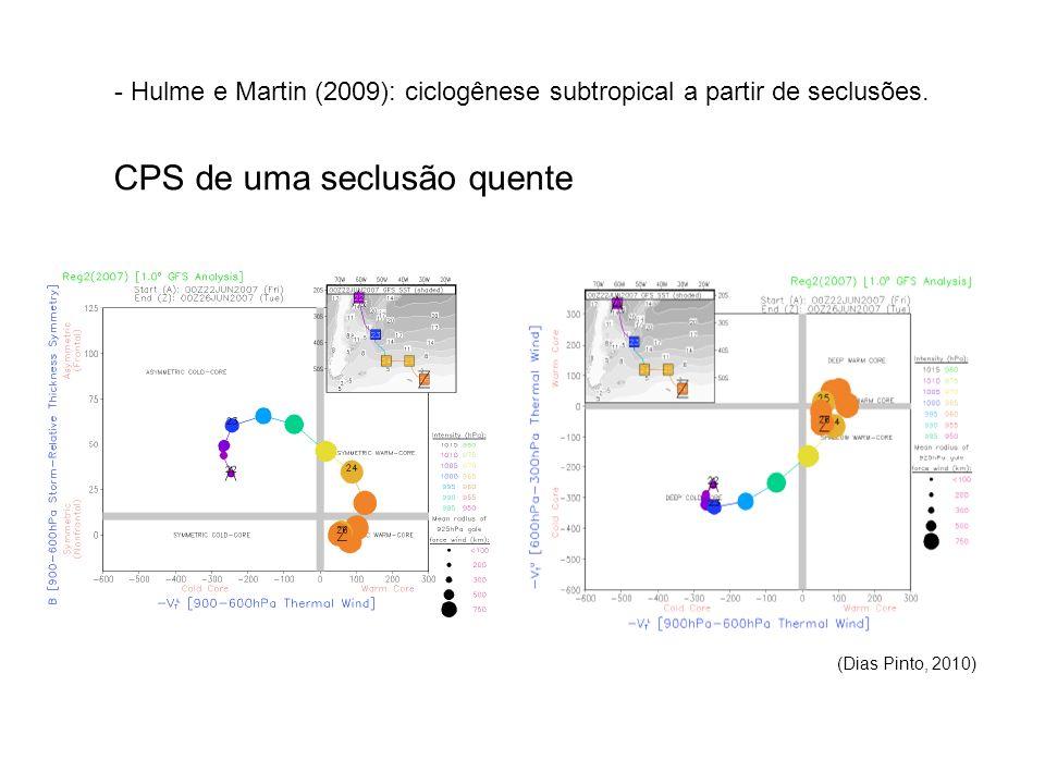 - Hulme e Martin (2009): ciclogênese subtropical a partir de seclusões.
