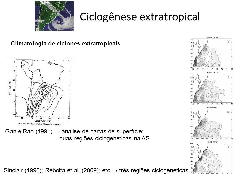 Ciclogênese extratropical Gan e Rao (1991) análise de cartas de superfície; duas regiões ciclogenéticas na AS Sinclair (1996); Reboita et al.