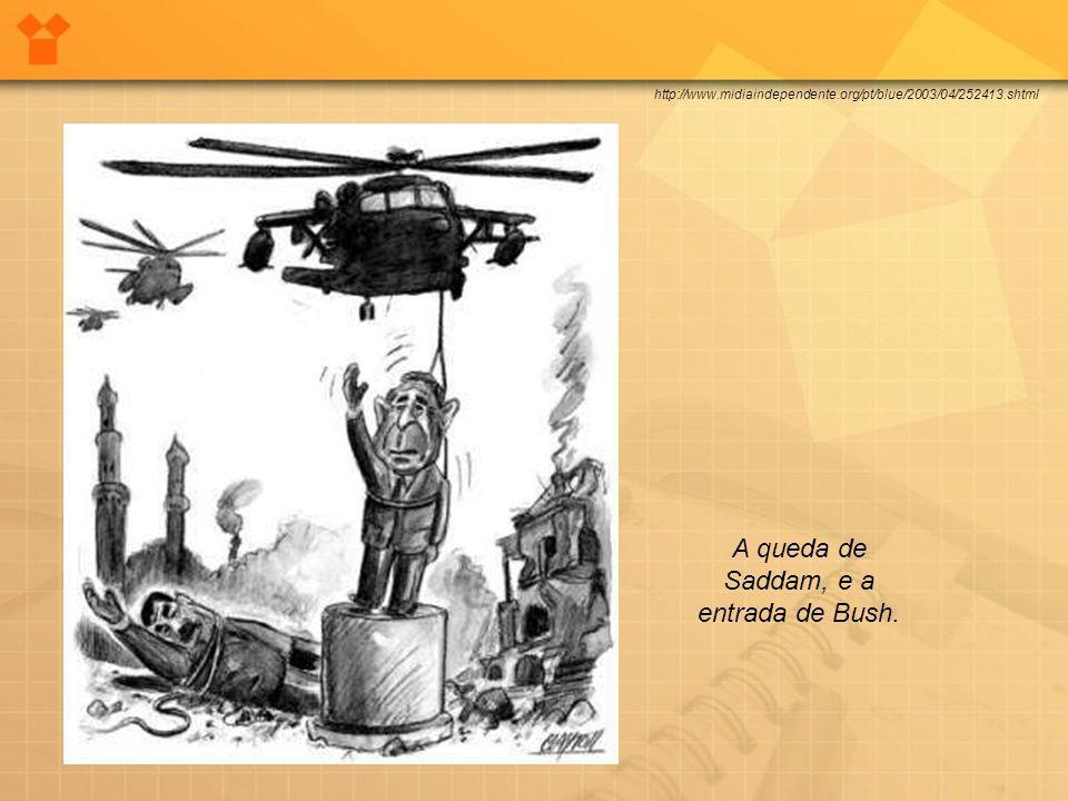 http://www.midiaindependente.org/pt/blue/2003/04/252413.shtml A queda de Saddam, e a entrada de Bush.