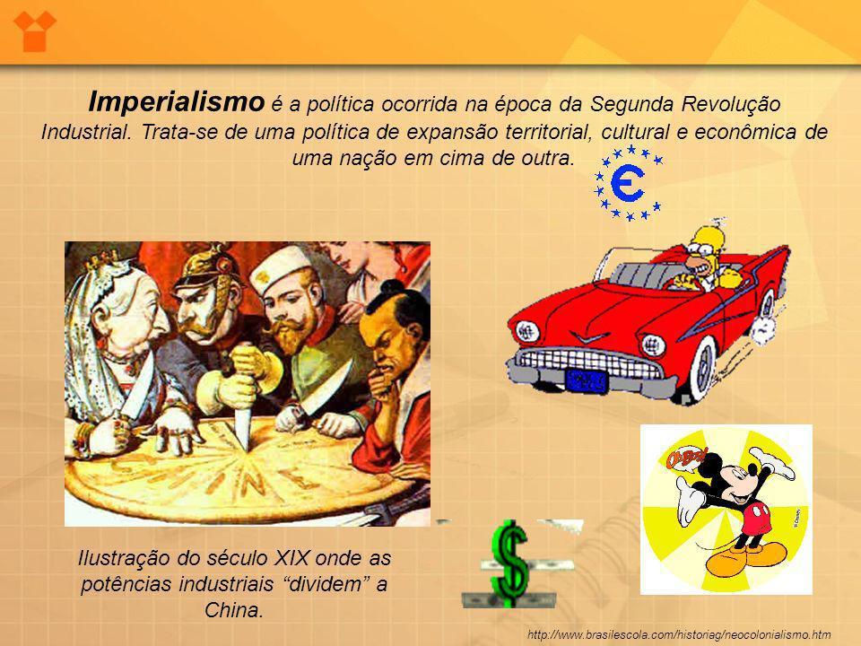 Imperialismo é a política ocorrida na época da Segunda Revolução Industrial. Trata-se de uma política de expansão territorial, cultural e econômica de