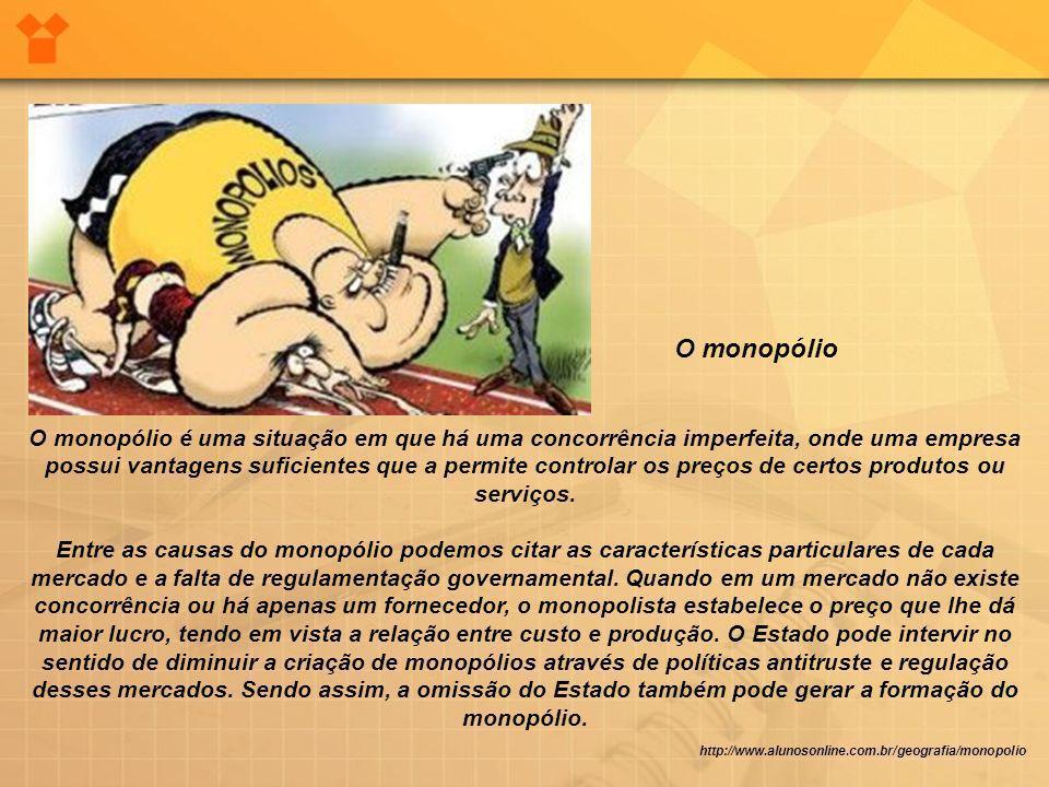 http://www.alunosonline.com.br/geografia/monopolio O monopólio é uma situação em que há uma concorrência imperfeita, onde uma empresa possui vantagens