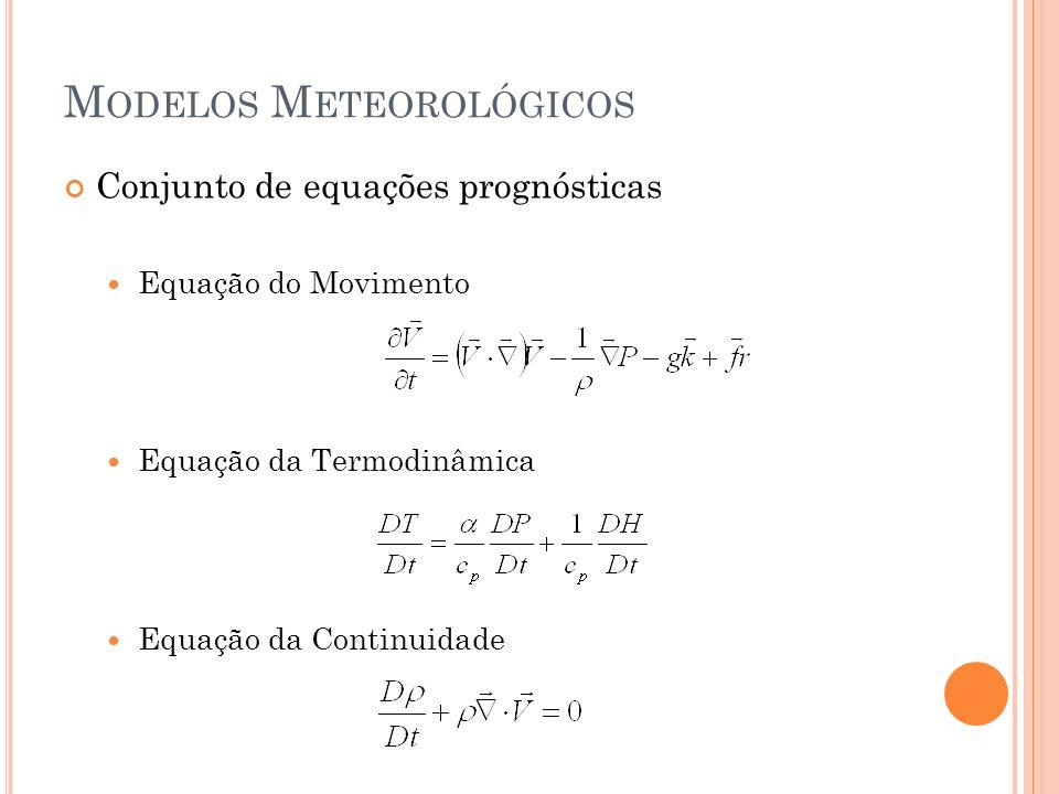 M ODELOS M ETEOROLÓGICOS Conjunto de equações prognósticas Equação do Movimento Equação da Termodinâmica Equação da Continuidade