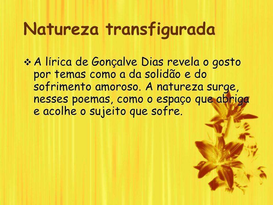 Natureza transfigurada A l í rica de Gon ç alve Dias revela o gosto por temas como a da solidão e do sofrimento amoroso. A natureza surge, nesses poem