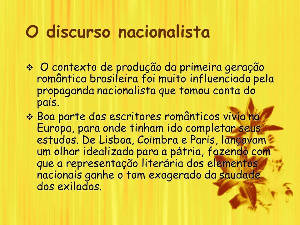 O discurso nacionalista O contexto de produção da primeira gera ç ão romântica brasileira foi muito influenciado pela propaganda nacionalista que tomo