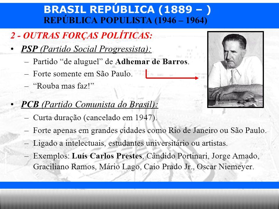 BRASIL REPÚBLICA (1889 – ) Prof. Iair iair@pop.com.br REPÚBLICA POPULISTA (1946 – 1964) 2 - OUTRAS FORÇAS POLÍTICAS: PSP (Partido Social Progressista)