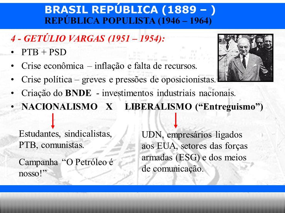 BRASIL REPÚBLICA (1889 – ) Prof. Iair iair@pop.com.br REPÚBLICA POPULISTA (1946 – 1964) 4 - GETÚLIO VARGAS (1951 – 1954): PTB + PSD Crise econômica –