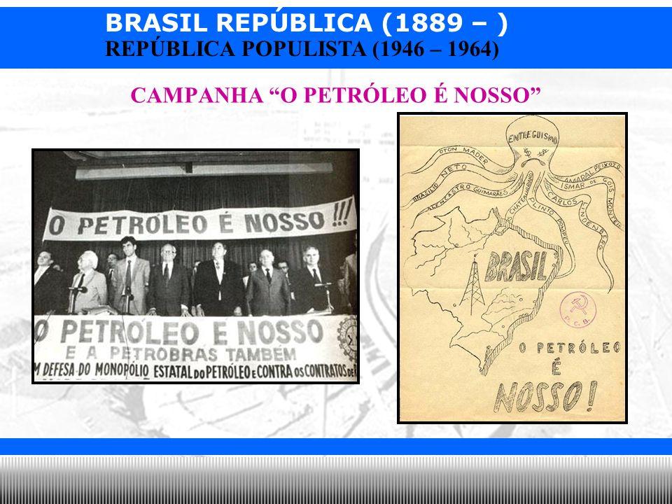BRASIL REPÚBLICA (1889 – ) Prof. Iair iair@pop.com.br REPÚBLICA POPULISTA (1946 – 1964) CAMPANHA O PETRÓLEO É NOSSO