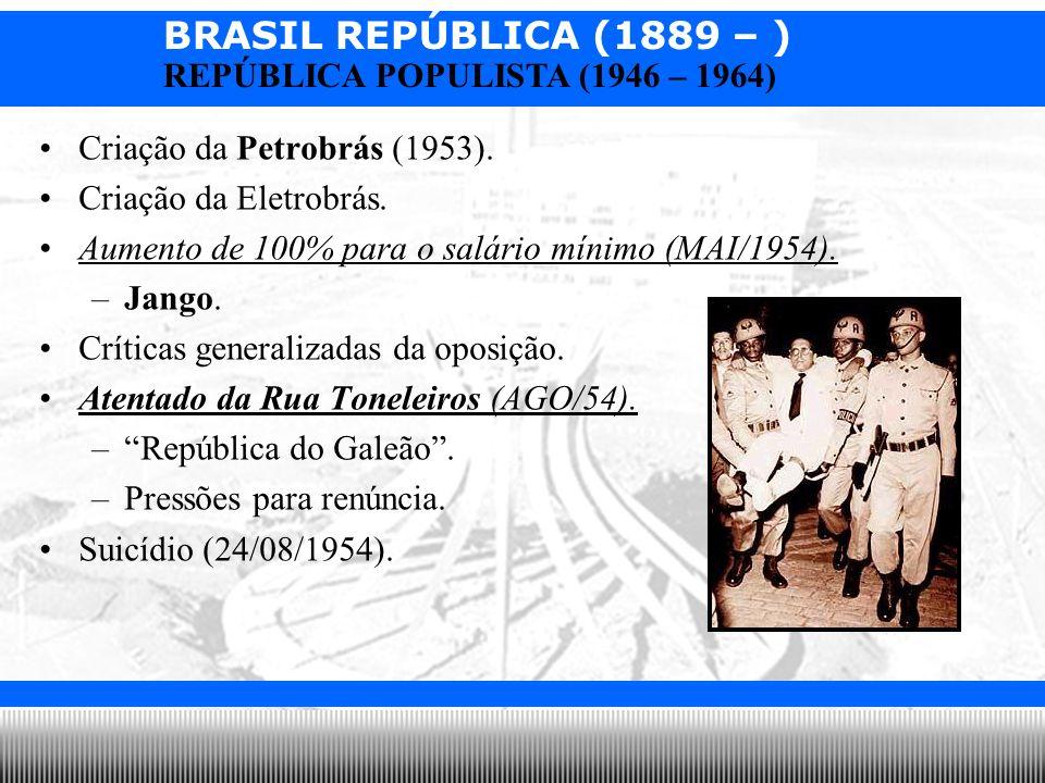BRASIL REPÚBLICA (1889 – ) Prof. Iair iair@pop.com.br REPÚBLICA POPULISTA (1946 – 1964) Criação da Petrobrás (1953). Criação da Eletrobrás. Aumento de