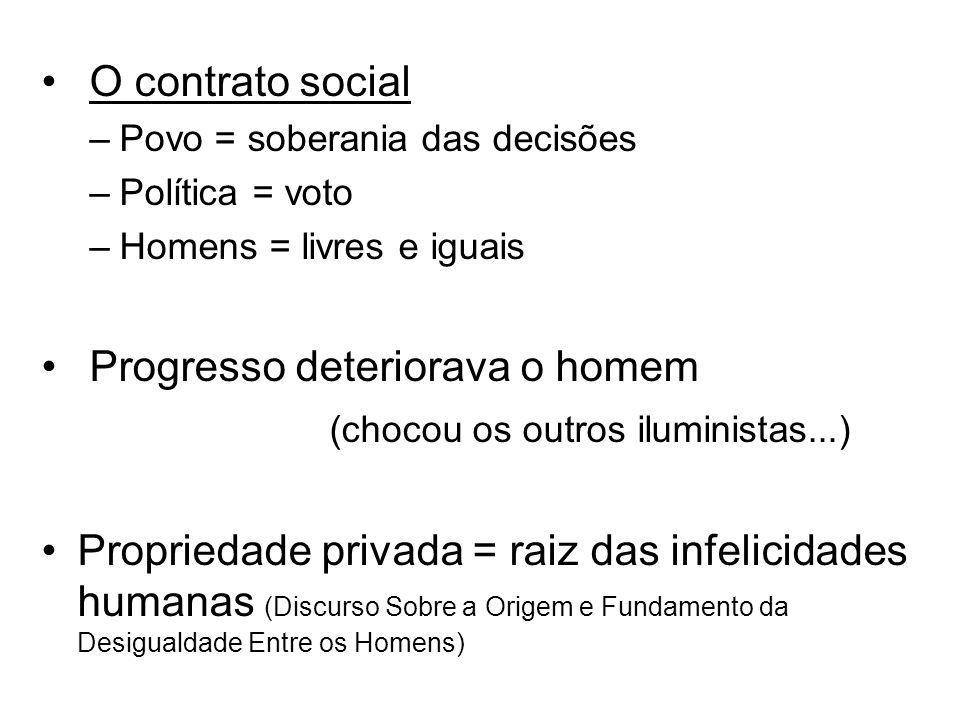O contrato social –Povo = soberania das decisões –Política = voto –Homens = livres e iguais Progresso deteriorava o homem (chocou os outros iluminista