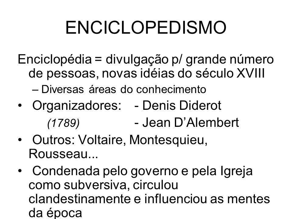 ENCICLOPEDISMO Enciclopédia = divulgação p/ grande número de pessoas, novas idéias do século XVIII –Diversas áreas do conhecimento Organizadores: - De